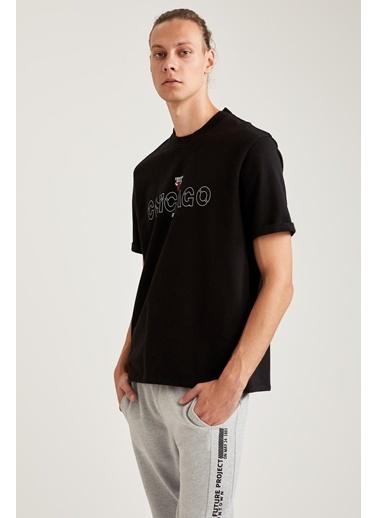 Defacto –Fit NBA Lisanslı Oversize Fit Bisiklet Yaka Sweatshirt Siyah